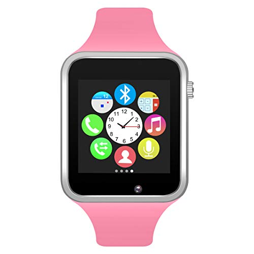 Bluetooth Smart Watch GSM Phone Watch with Camera for Android Smartphones (Silver + Pink) (Watch Phone Gsm)