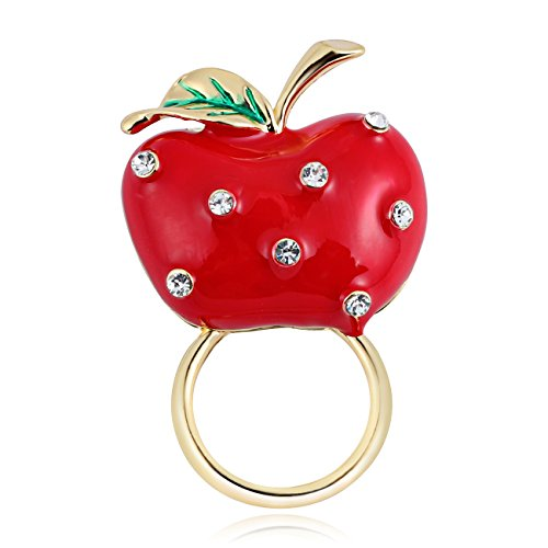 TUSHUO Delicate Red Apple with Crystal Rhinestone Magnetic Eyeglass Holder - That Eyeglasses Fix Places
