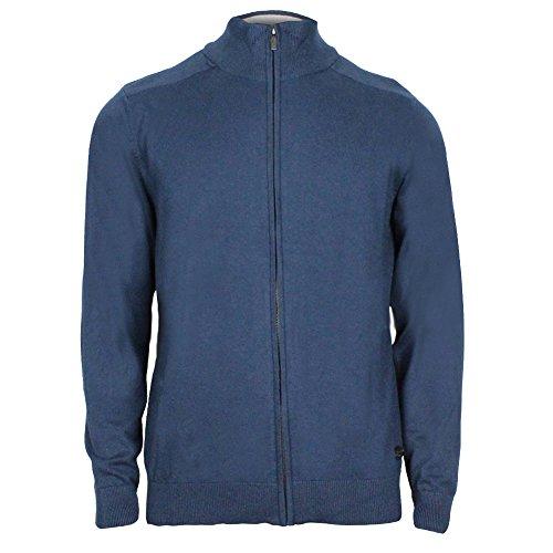Fresh Brand Men's Full Zip Sweater with Ribbed Cuffs, Collar & Hem (Large, Navy)