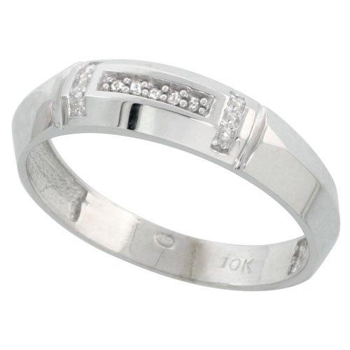 10k White Gold Mens Diamond Wedding Band Ring 0.03 cttw Brilliant Cut 7//32 inch 5.5mm wide