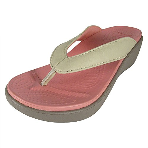 crocs Women's Capri Leather Wedge Flip Flop, Stucco/Mushroom, 5 M US -