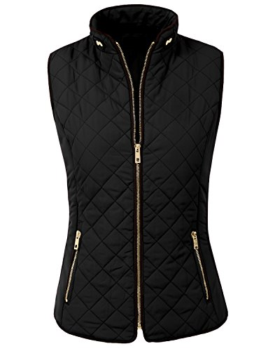 (NE PEOPLE Womens Classic Quilted Front Zip Up Padded Vest)