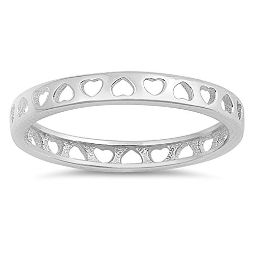 Heart Love Cutout Eternity Thin Thumb Ring .925 Sterling Silver Band Size 7