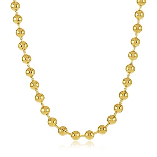 3.3mm 24K Gold Plated Ball Chain Necklace, 36