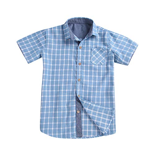 Clearance Kids Boys Girls Plaid Short Sleeve Button Down T S