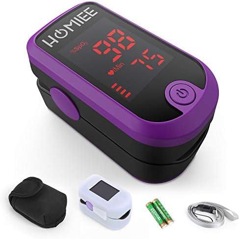 HOMIEE oxymètre d'impulsion de doigt lecture instantanée portative Moniteur de fréquence cardiaque de saturation d'oxygène de sang de bout du doigt