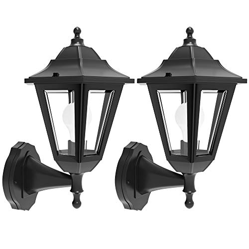 EMART Porch Light Fixtures Outdoor, LED Waterproof Wall Lantern Durable Plastic Material & Black Finish Exterior Wall Sconce Lamp for Garden, Carriage and Front Porch (2 Pack)