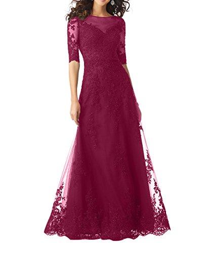 Abendkleider Spitze Damen Festlichkleider Brautmutterkleider Formalkleider Bodenlang Langes Linie Weinrot Charmant Partykleider A qAtxEEp