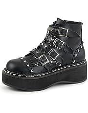 MeiLuSi Womens Platform Combat Boots Mode Bezaaid Gesp Goth Punk Schoenen Zwart Motorfiets Laarzen