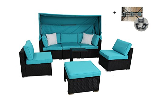 Outdoor Rattan Wicker Sofa Set Garden Patio Furniture Cushioned Sectional Conversation Sets with Awning-Easy Assembled (7 Piece-A, BLACK) (Cushions Uk Wicker Seat)