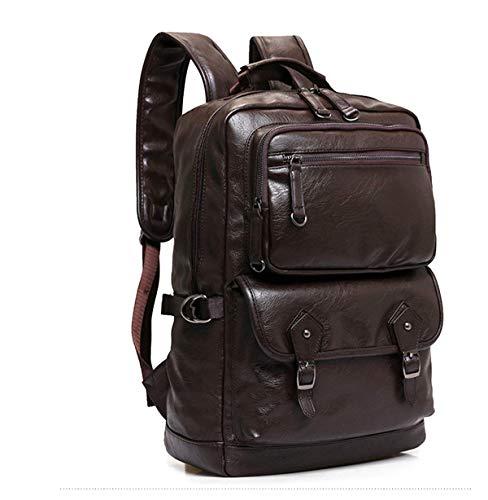 Laptop Backpack Genuine Leather 15.6 inch Men Women Notebook Vintage School Travel Bags (Brown) (Brown)