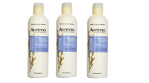 - Aveeno Active Naturals Skin Relief Shower & Bath Oil with Natural Soothing Oatmeal for Relief of Itchy, Dry Skin, 10-Ounce Bottles (Pack of 3)