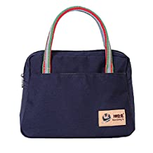 Aubig Casual Canvas Womens Lunch Bag Tote Insulated Travel Zipper Organizer Box - Blue