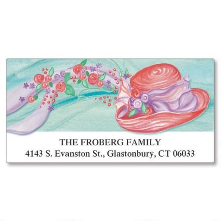 Red Hat Personalized Return Address Labels- Set of 144, Large Self-Adhesive, Flat-Sheet Labels, By Colorful Images