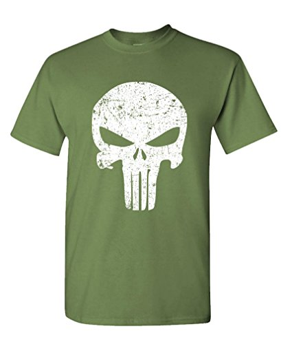 DISTRESSED PUNISHER SKULL mercenary liberty - Mens Cotton T-Shirt, S, Military