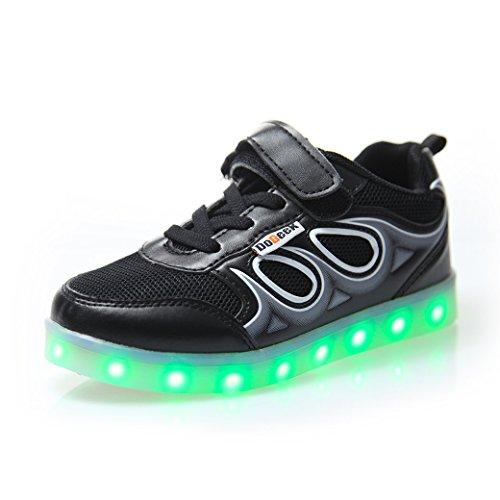 Con Luci Led Tennis Bright dei Bambino Scarpe di Taglia USB DoGeek Suola Con 7 Sneakers Unisex Colore Mejor Una Sneakers Scarpe Scarpe Bambina Carica Nella bambini Luminosi LED Luci Scarpe Nero Luce Shoes wqwx4AB