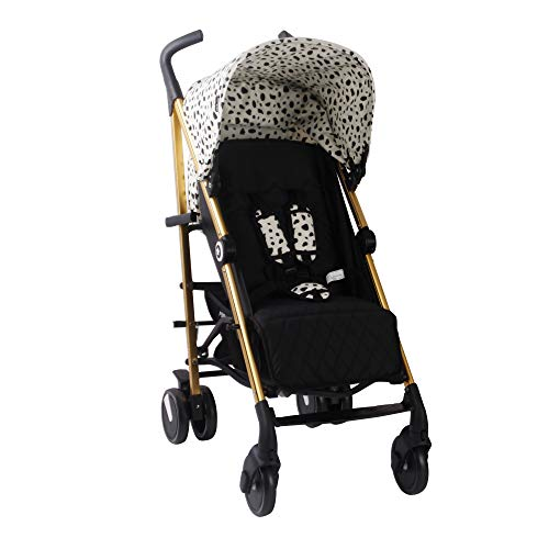 My Babiie Catwalk Dalmatian Baby Stroller – Lightweight Baby Stroller with Carry Handle – Gold Frame and Dalmatian Canopy – Lightweight Travel Stroller – Stylish Umbrella – Babies 6 Months – 33 lbs