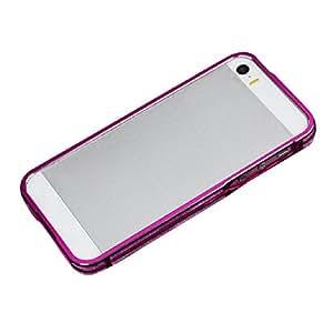 Lowpricenice 1pc Durabel Elegant Tide Glitter Metal Bumper Frame Cover Case for Iphone 5 5g 5s (Hot Pink)