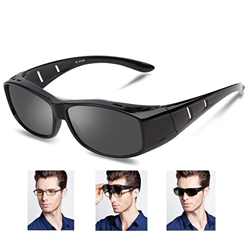 Over glasses sunglasses Polarized for men women/Sunglasses Wear Over /fit over Prescription Glasses UV400 Outdoor sports Driving sunglasses (Bright black, - Glasses To Sunglasses