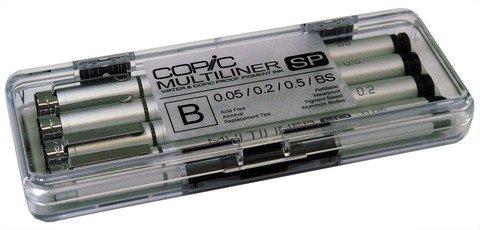 Copic Multiliner SP Waterproof Pigment Ink Pens Set B, Pack of 4, Black Ink (MLSP4B) Copic Multiliner Sp Pigment