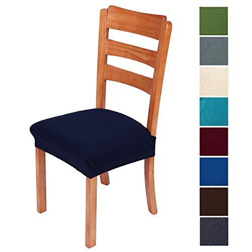 smiry Stretch Jacquard Chair Seat Covers for Dining Room, Removable Washable Anti-Dust Chair Seat Protector Slipcovers – Set of 6, Navy Blue