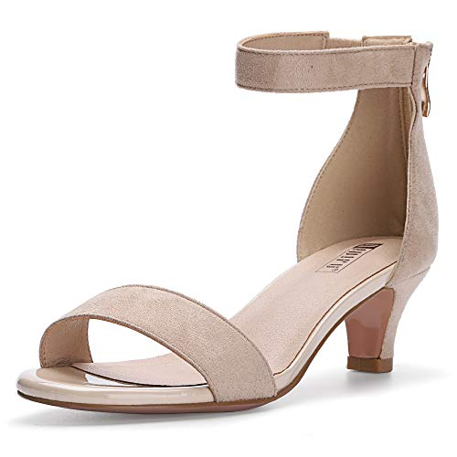 IDIFU Women's IN2 Slim Fashion Stilettos Ankle Strap Open Toe Pump Heeled Sandals Kitten Heel Party Shoes with Zipper (7.5 M US, Nude Suede)