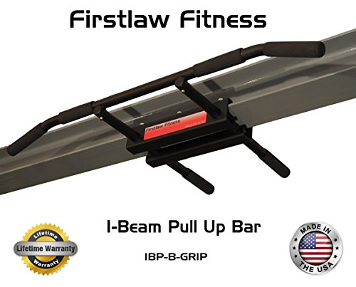 Firstlaw Fitness - 600 LBS Weight Limit - I-Beam Pull Up Bar - Long Bar with Bent Ends WITH Pull Up Assist - Durable Rubber Grips - Black Label - Made in the USA! by Firstlaw Fitness (Image #6)