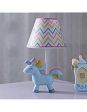 Unicorn Lampa, sovrum sänglampa med Lampshade Söt Resin Bordslampa för barn Inreda Julklappar (inklusive E14 LED-lampor) (Color : Blue unicorn)