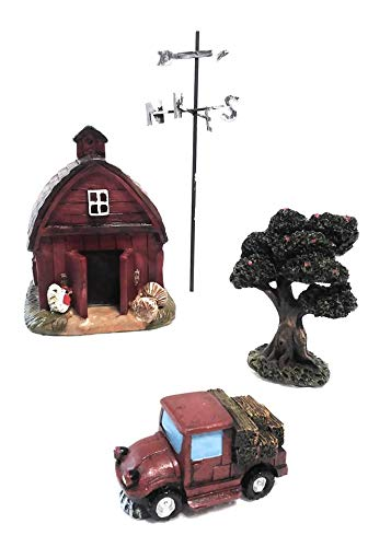 Assembled by Teal Flamingo Creations Miniature Barn with Weather Vane, Truck with Hay and Apple Tree Miniatures for Fairy Garden, Terrariums and Home Decor