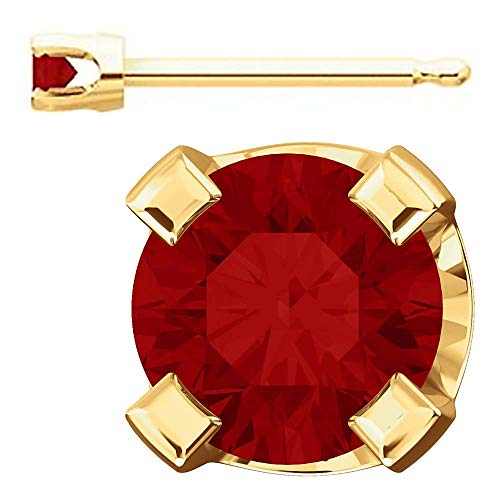 Trustmark Yellow Gold 2mm Chatham Created Ruby Stud Earrings