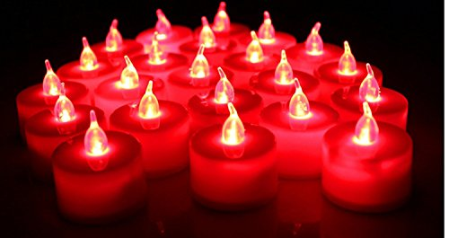 BRAZING CANDLE LED TEA LIGHTS (Red) (Tea Red Lights)