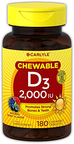 Carlyle Vitamin D3 2000IU 180 Chewable Tablets | Vegetarian, Non-GMO and Gluten Free | Bone, Immune and Muscle Support |
