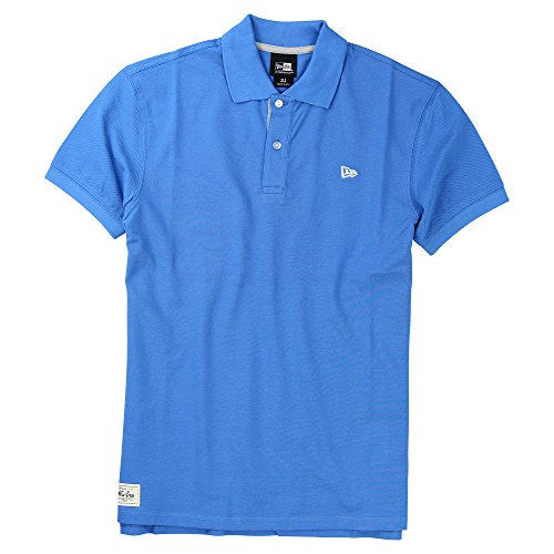 New Era Branded Cotton Polo Shirt (Blue, Large)