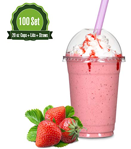 20oz Clear Plastic Cups with Dome Lids and Straws (100 ()