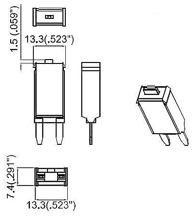 PHOTO-TOP 5A Automotive Mini Blade Fuse Circuit Breaker T3 Manual Reset for Car Truck Marine 3pcs
