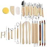 Juego de herramientas de cerámica, 42 piezas de cerámica, piezas de cerámica, juego de esculturas de arcilla, tallado, kit de herramientas de combinación de modelado para manualidades de cerámica