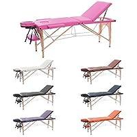 H-ROOT 3 Sezione Tavolo da Massaggio Leggera Large Deluxe Lettino da Massaggio Portatile Terapia Tatoo Salon Reiki Healing Massaggio Svedese (186cm x 60cm x 62-83cm, Rosa)
