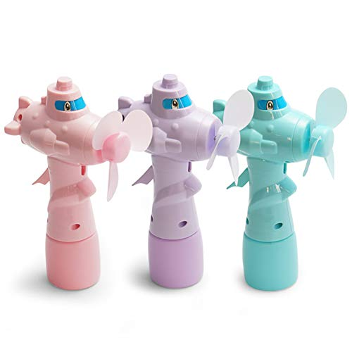 (essibly11jmp Cute Cartoon Plane Shape Water Addition Mist Spray Hand Crank Fan Kids Toy Random Color)