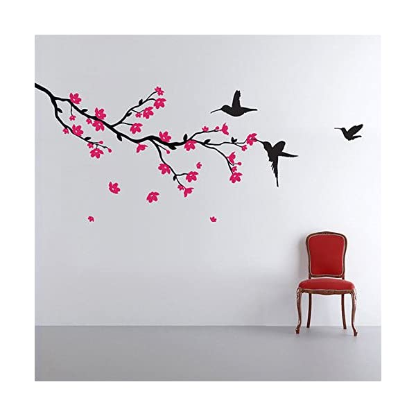 'Humming Birds and Blossoms' PVC Vinyl Multicolour Wall Sticker Decals Design