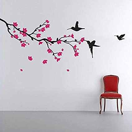 Decals Design Humming birds and Blossoms Wall Sticker (PVC Vinyl, 50 cm x 70 cm, Multicolour)