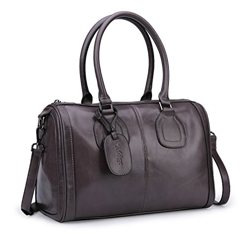 Yafeige Women's Genuine Leather Designer Handbags Tote Shoulder Bag Satchel Top Handle Bag Crossbody Bags(Gray)