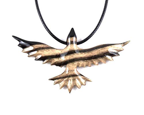 Soaring Raven Pendant Necklace Crow Bird Jewelry Hand Carved in Black and White Ebony