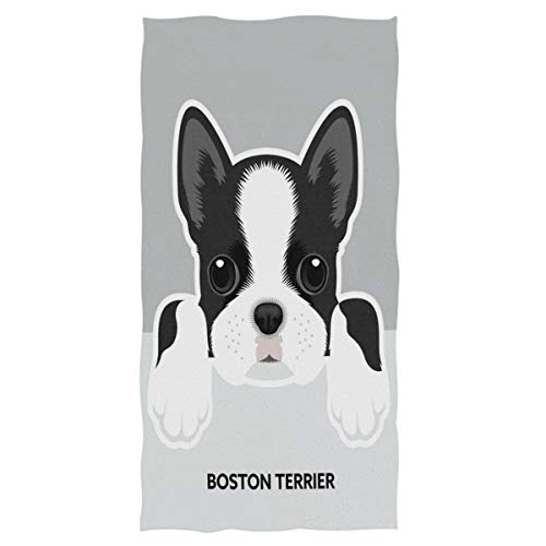 Wamika Dog Pattern Large Hand Towels Boston Terrier Bath Towel Ultra Soft Highly Absorbent Multipurpose Bathroom Towel for Hand,Face,Gym,Sports and Spa Home Decor, 16x30 in