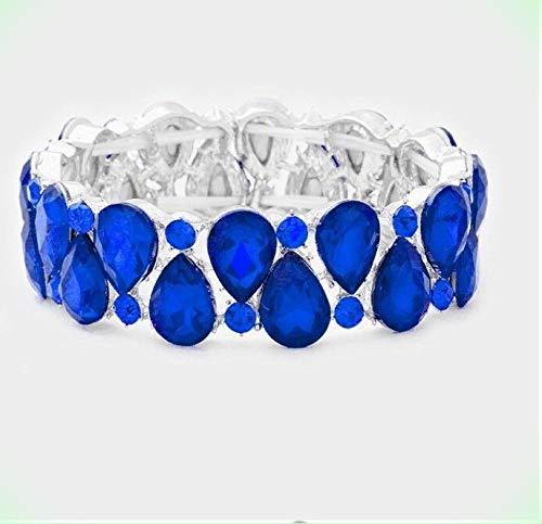 Royal Blue Stretch Stretchable Cuff Crystal Rhinestone Wedding Pageant Bracelet for Women ()