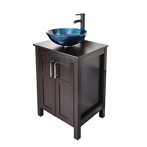 24 Inches Traditional Bathroom Vanity Set in Dark Coffee Finish, Single Bathroom Vanity with Top and 2-Door Cabinet, Tempered Glass Round Sink Top with Single Faucet Hole (Bathroom Vanity Base Cabinets)