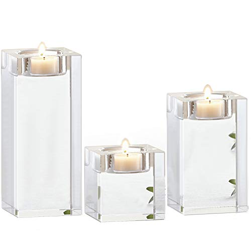 Le Sens Amazing Home Candle Holders Set of 3, 2.3/3.9/5.5 inches Height Elegant Heavy Crystal Cuboid Tealight Holder Clear Square Glass Cube Candle Holder for Ceremony Centerpiece and Home -