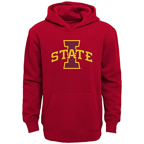 NCAA by Outerstuff Little NCAA Kids & Youth Boys Team Logo Pullover Hoodie, Dark Red, Kids Large(7), Iowa State Cyclones (Iowa State Sweatshirt Youth)