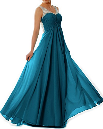 MACloth Women Straps V Neck Chiffon Lace Long Prom Dress Formal EveningBall Gown Teal