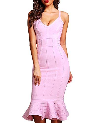 Get Hego Womens V Neck Strap Mermaid Club Night Out Bandage Bodycon