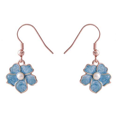 SENFAI Blue Myosotis Forget Me Not Flower Charm Dangle Earrings Wedding Gift(Rose ()